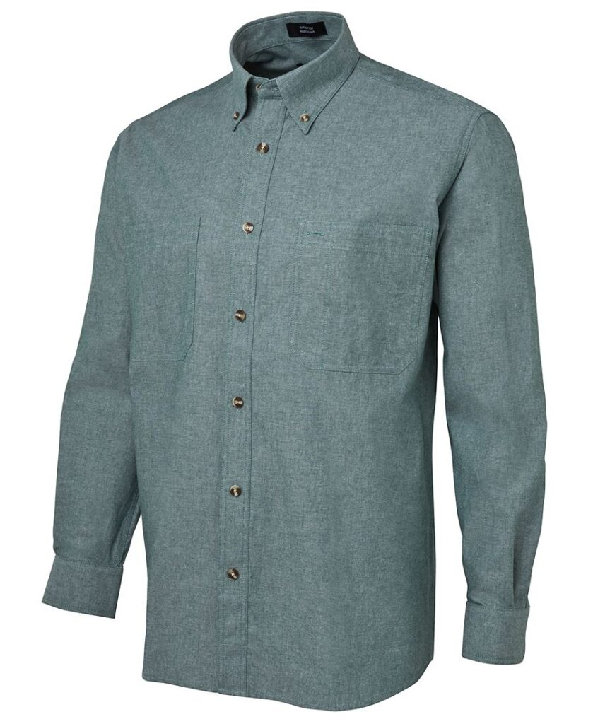 JB's Wear Cotton Mens Chambray Green Shirt