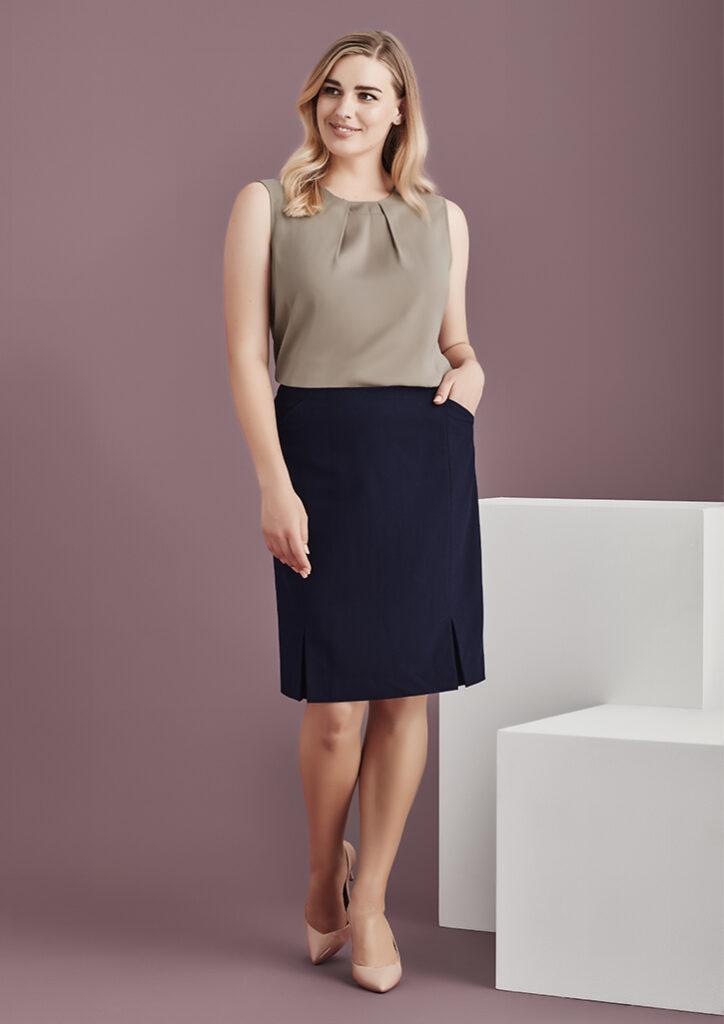 Biz Corporates Womens Front Pleat Detail Straight Skirt