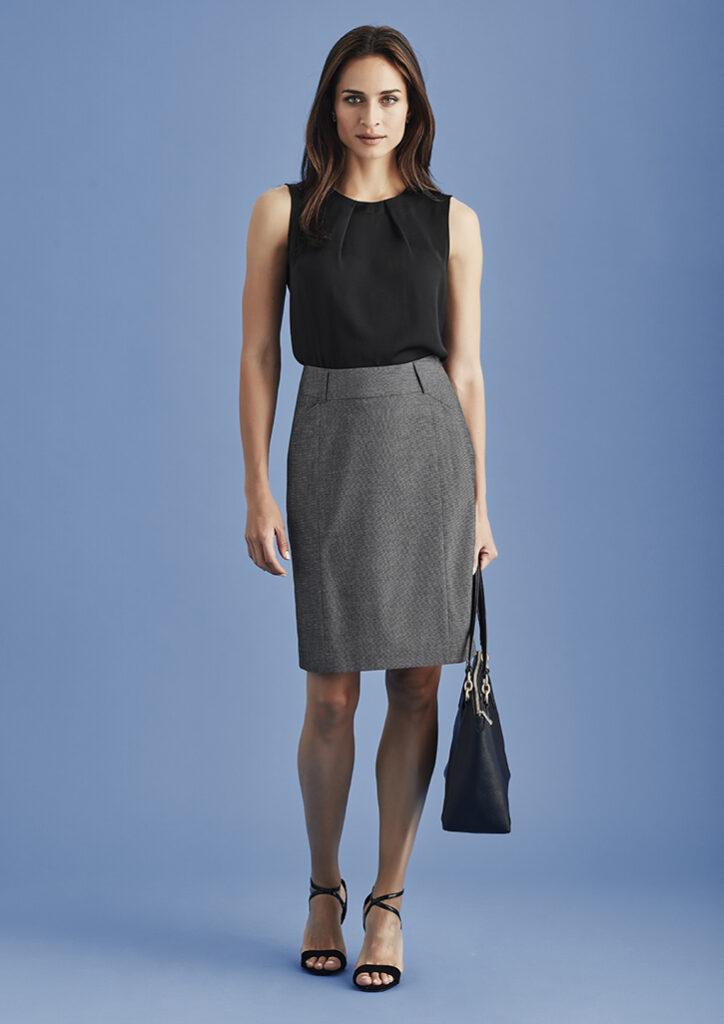Biz Corporates Womens Panelled Skirt with Rear Split